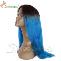 Virgin indian Ombre Hair lace wig Straight Colored 1b/blue two Tone human Hair full lace wig