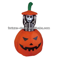 120cm Halloween inflatable pumpkin with skeleton inside