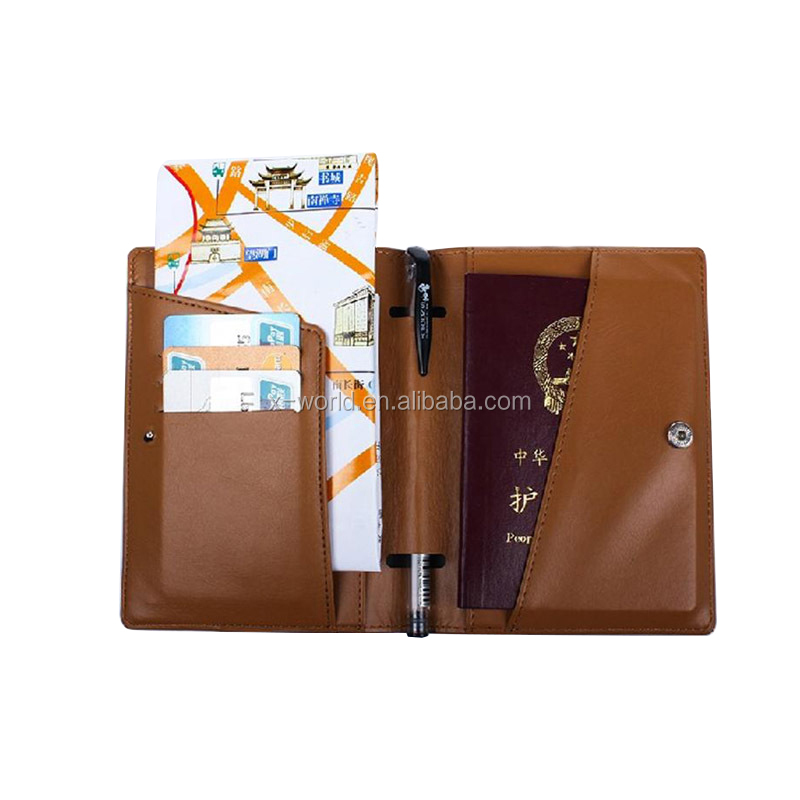 Antimagnetic Leather Passport Cover Case Leather Passport Holder with Card Slot and Pen Holder
