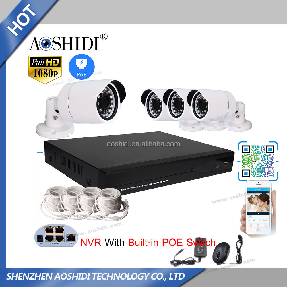Aoshidi HD 1080P 4CH 2 Megapixel POE Onvif IP CCTV Cam Kits, 4 Channel Network Home Security Camera System