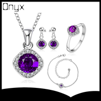 Elegant costume jewelry silver plated set with anklet necklace ear studs ring