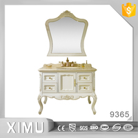 european style carven solid wood bathroom vanity cabinets with gold inlaid