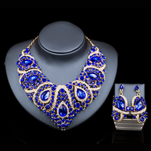 Latest wholesale artificial bridal jewellery sets royal blue JW0002