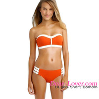 Fancy Orange Strapless Push Up Bikini Swimsuit sexy shiny swimwear woman bikini