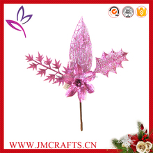 Artificial pink glitter twigs Christmas flowers