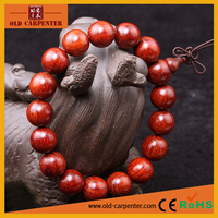 Custom made 1.2cm *17pcs Indian Pterocarpus santalinus Charm fashion gift bead bracelet