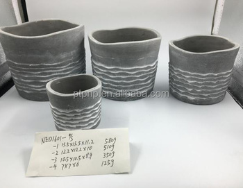 Round cement flower pot for decorative