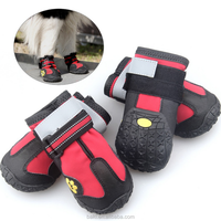 Pet Dog Shoes Anti Slip Waterproof Bottom Dog Boots Black Red 4pcs/set