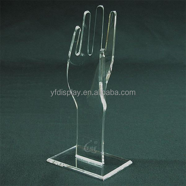 Customized Clear Acrylic Hand Shape Jewelry display