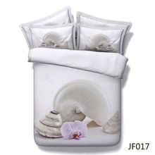 Duvet cover set Beautiful white shells and orchid HD 3d bedding set