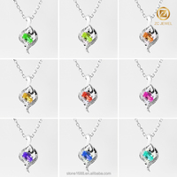 crystal stone girlfriend heart colorful and beautiful pendant necklace
