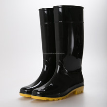 Wholesale original brand shoes OEM Black shinny upper ladies pvc rainboots clear rain boots for garden in Wenzhou China