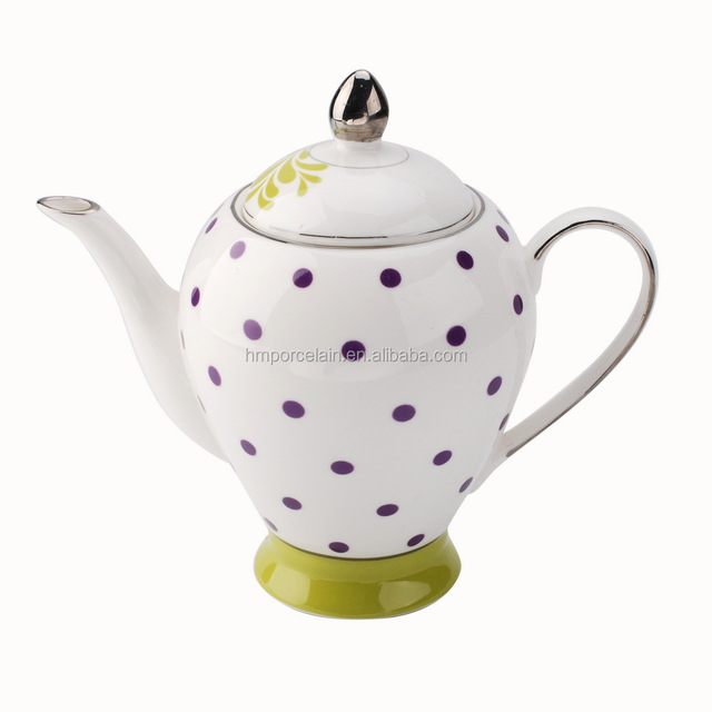 Shenzhen high end crockerys purple dot tea set Chinese wholesale 920ml tea pot