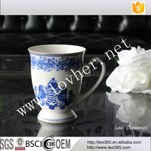 12oz Blue and White Ceramics Mug With Gold For Wholesale In China