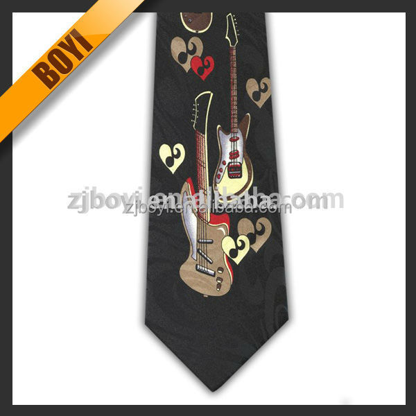 Custom Music Pattern Printing Tie In ShengZhou