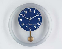 Hot Plastic Selling Classic Pendulum Wall Clock with LOGO