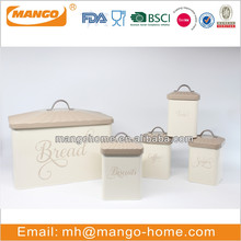 Cream color iron food storage boxes set