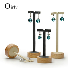 Oirlv Wholesale Elegant Wooden with Microfiber Ear Stud Jewellery Showcase Props Custom Logo Solid wood Earring Display Stand