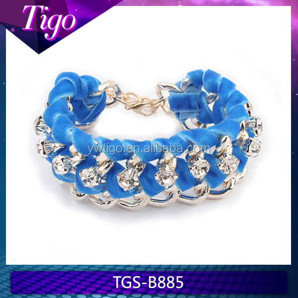 Wholesale handmade crystal chain and cloth Brazalete