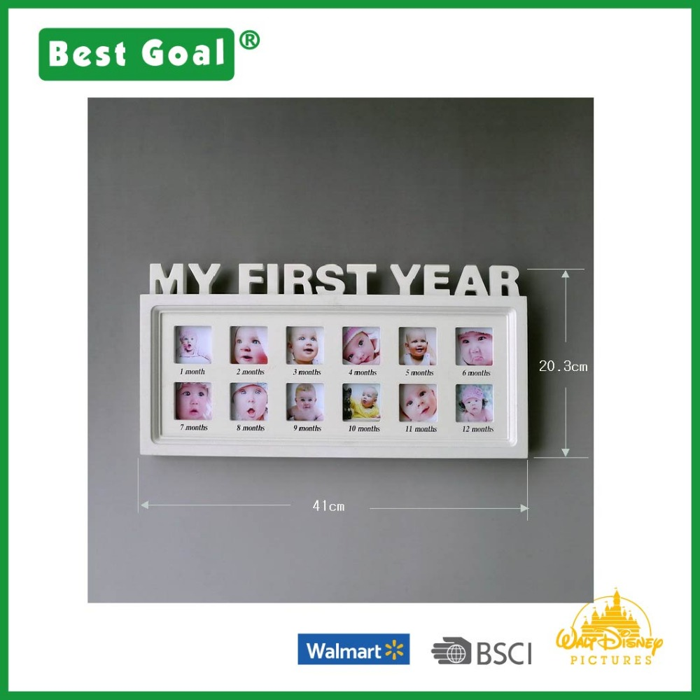 Wall mounting MDF baby multi photo frame