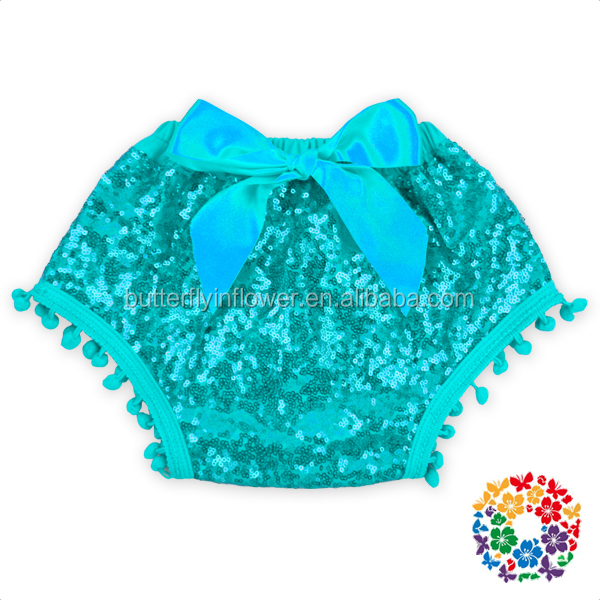 Aqua Sequins Baby Pom bloomers with bow back pom pom Baby Pants & Shorts