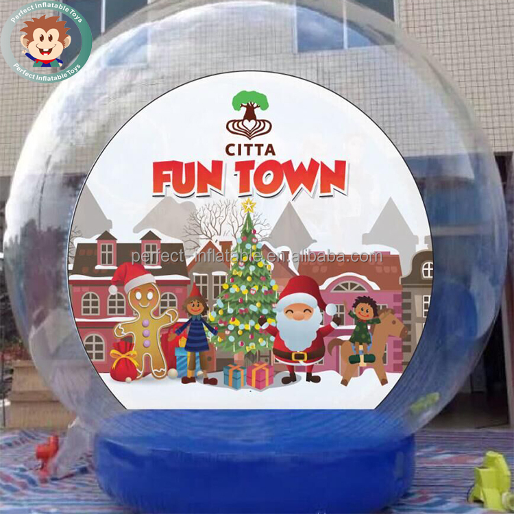 PVC Outdoor Yard Decoration Christmas Inflatable Giant Snow Globes Snow Ball