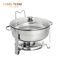 L4004 Cheap Food Warmer 201 Double Bowl Stainless Steel Round Chafing Dish