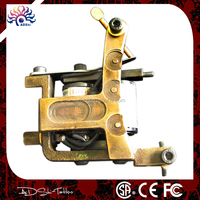 Professional handmade brass tattoo machine , shading tattoo gun with iron tattoo frame
