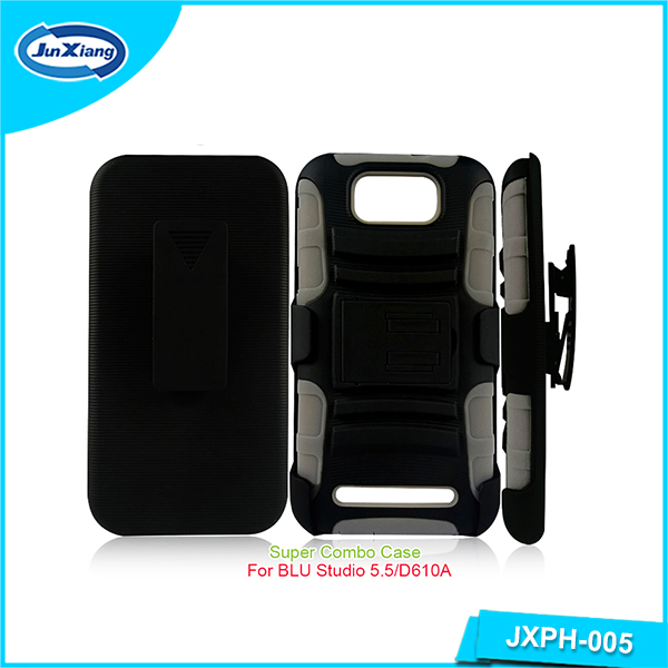 Hot new products hybrid robot combo holster case for BLU studio 5.5