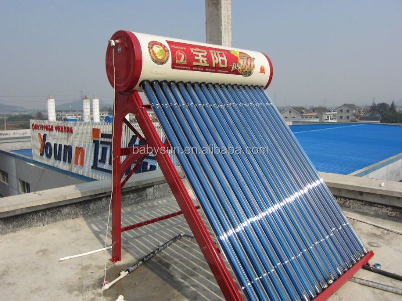 Newly designed popular 150 Liters non pressure evacuated tube solar water heating system for India