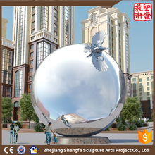 Larger Modern Famous Stainless Steel 304 metal Arts Sphere Animal Sculpture for Garden decoration