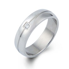 Fashion Stainless Steel Couple Wedding Ring Zircon Engagement Diamond Ring