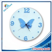 Customer's design pendulum shadow clear glass wall clock for bedroom