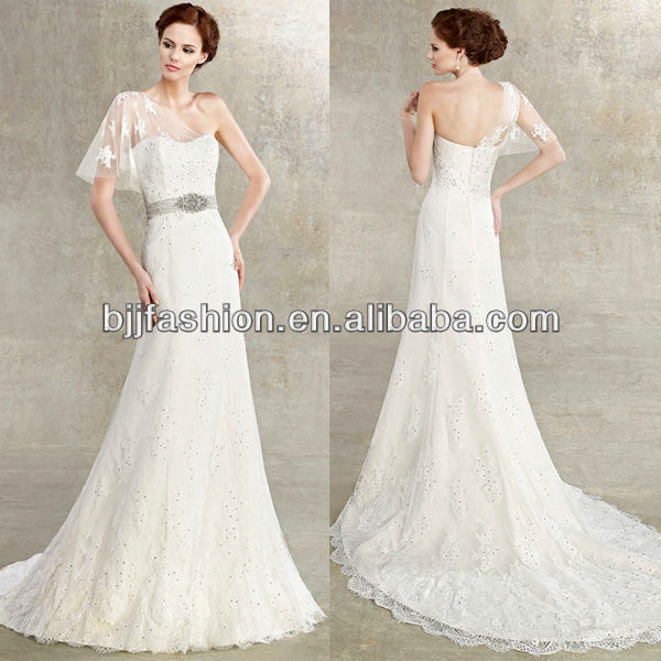 Transparent Tulle One Shoulder Lace Beaded Belt Sheath Off the shoulder lace ivory wedding dresses