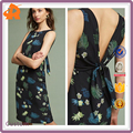 China Products Graceful Lady Floral Printed Dress Wholesale Open Back Prom Dress