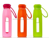 360ml/500ml pyrex glass travel sport water bottle with silicone lid and band/thermos glass sport water bottle