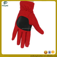 ladies wrist length red leather palm glove super soft wool lined leather palm glove