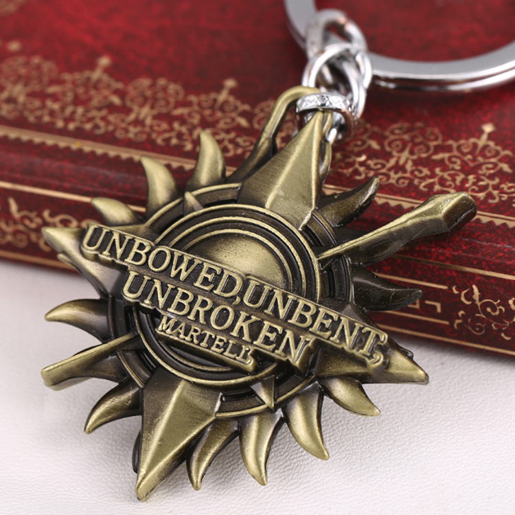 Promotional gifts metal zinc alloy 3d antique custom key chain for the Game of Thrones