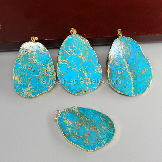 LS-D276 Wholesale Natural Sliced Turquoise Pendants