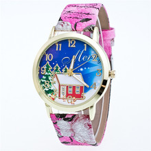 High Quality Girl Watch with christmas santa claus dial,cool fashion watch for girls gift 2016