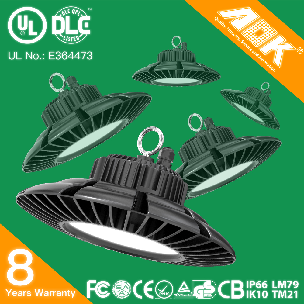UL cUL DLC TUV CE RoHS SAA Listed 8 years warranty IP66 IK10 Dimmable 120W LED High Bay Light