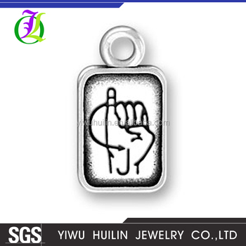 CN185786 Yiwu Huilin jewelry Latest Design Hand gesture Pendant square Charms Jewelry Twenty-six letters J pendant