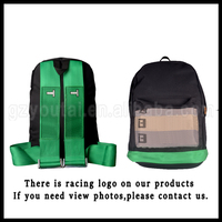 JDM Racing Backpack Canvas Harness School Backpack,Green Bottom School Backpack Bag