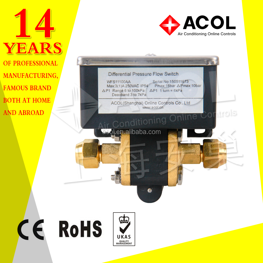 Differential pressure flow switch for water chilling unit