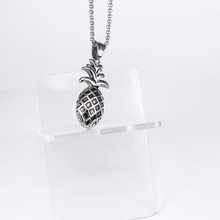 Silver Pineapple Necklace Fruit Pendant Stainless Steel Fashion Charm Jewelry for Girls/Women