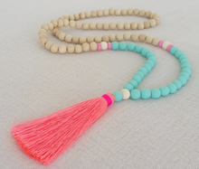 Wholesale wooden beads and natural stone beads Long Leather Tassel Necklace