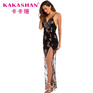 Evening hot ladies sexy transparent female floral sequin black gown dresses