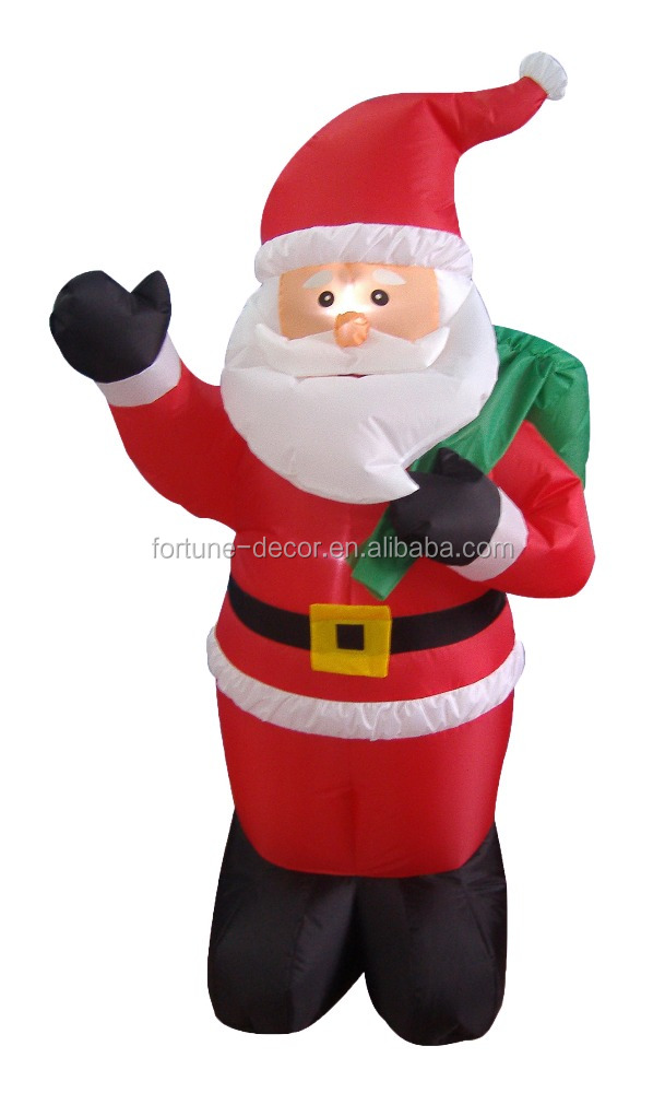 120cm/4ft Inflatable cute and slim santa claus with backpack on his back for christmas decoration