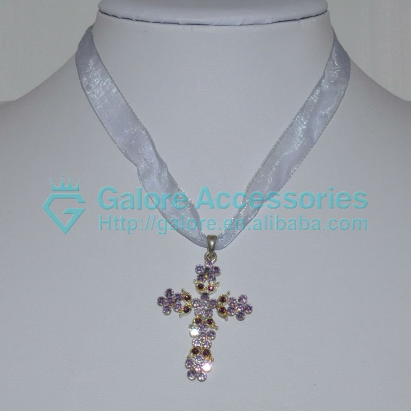 ribbon alloy cross necklace with pink stones