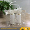 clear transparent frosted EVA PVC plastic packaging bags with handle tote